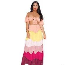 Autumn Women Boho Strapless Crop Top High Waist Long Skirt Two Piece Sets Sexy Clubwear Colorful Stripe 2