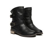 Women winter boots Motorcycle superstar buckle boots women shoes 2018 fashion classic pu leather winter women boots ladies shoes 4