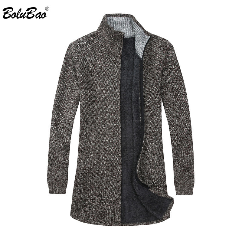 BOLUBAO Men Cardigan Sweaters Coats Winter New Casual Plus Velvet Men's Sweaters Male Knitting Sweaters Brand Clothing