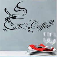 Copo de café com coração adesivos loja cozinha decorações diy início decal vinil sala de arte mural poster adesivos de paredes D053