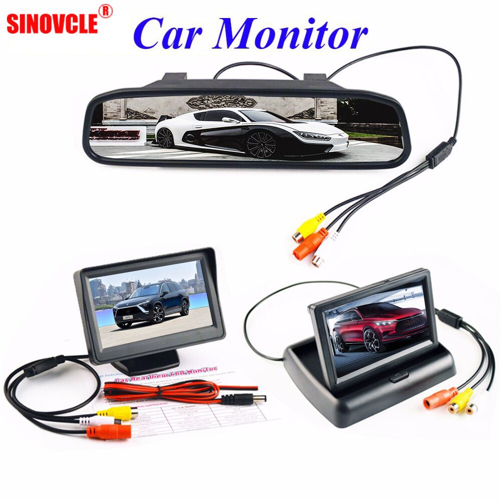 SINOVCLE 4.3 Inch Car Monitor Parking Reverse Camera 16:9 LCD TFT Display Desktop / Foldable / Mirror Video PAL/NTSC цена