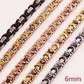 "6mm Width Elegant Unisex Byzantine Chain Stainless Steel Necklace&Bracelet Chain Silver Gold Black Rose Gold 7""-40"" Custom sizes"