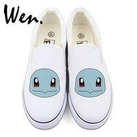 Wen Anime Pokemon Squirtle Cute Pattern Custom Design White Black Slip On Shoes For Man Woman
