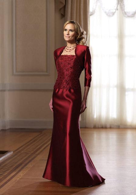 Envío gratis palabra de longitud tafetán madre de la novia vestidos con chaqueta por encargo vestido de mamá banquete de boda