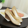 Sweet summer fish nose shiny woman shoes new slope with bird's nest shoes thick mesh plastic high-heeled woman sandals