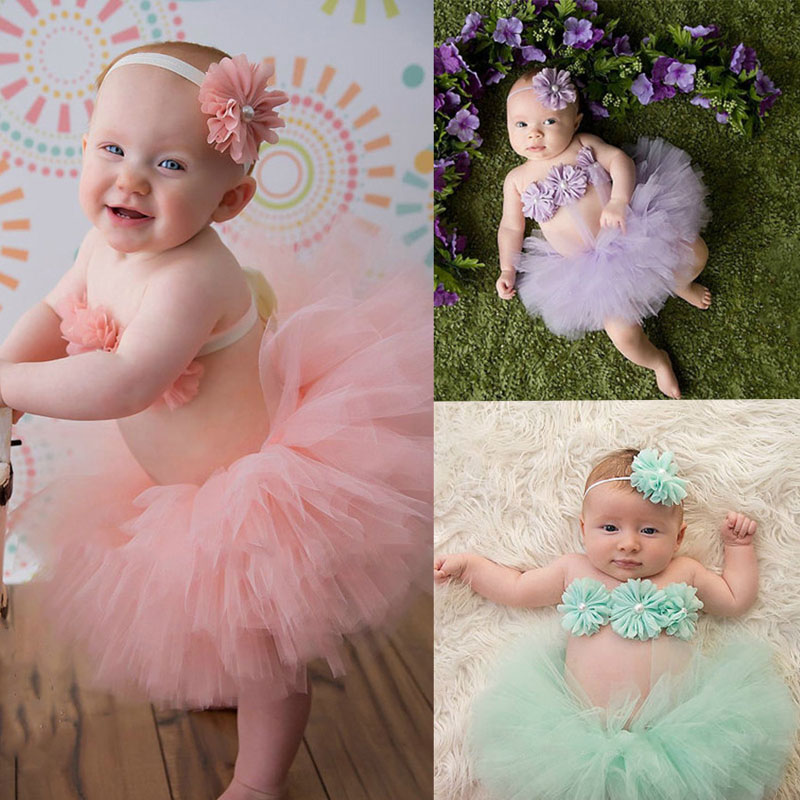 Baby Girls Tulle Tutu Skirt+Flowers Photography Props Toddler Infant Girls Ball Gown Skirts Tutu Costume Photo Props MU983941