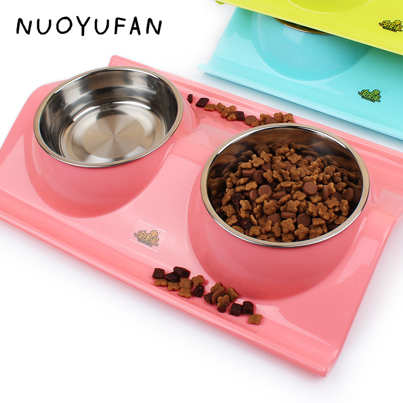 NUOYUFAN Plastic Stainless Steel Combo Dog Bowl Cat s
