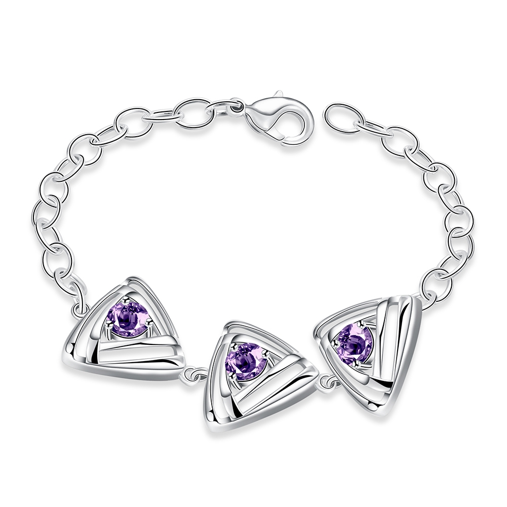 Замечательный Дизайн ювелирные изделия стерлингового серебра 925 Очаровательная австрийский хрусталь браслет для Для женщин модные подарк...