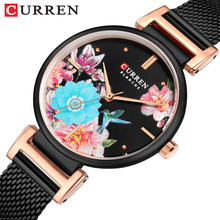 CURREN kobiety zegarek kwiat ptak tarcza czarna siatka pas stalowy bransoletka zegarek kwarcowy błyszczące letnia sukienka wodoodporny zegar tanie tanio T-WINNER QUARTZ Klamra z haczykiem CN (pochodzenie) STOP 3Bar Moda casual 12mm ROUND Odporne na wodę Hardlex 9053-8 22cm