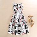 Summer Dress Women 50s Vintage Dresses Robe Pin Up Swing Flower Print Party Dress Sexy O-Neck Retro Casual Vest Dress jurken