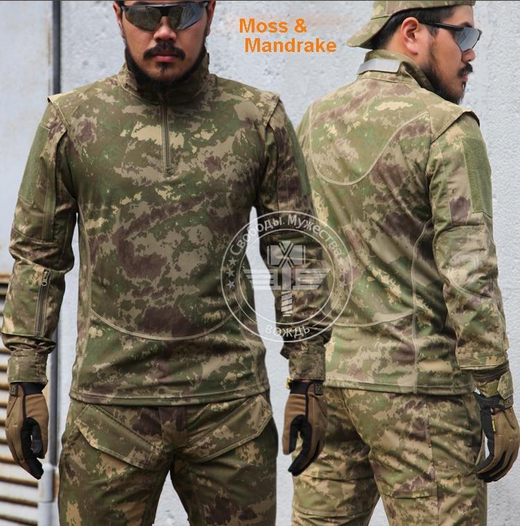 Moss & Mandrake Camo Combat Trainning Shirt Long Sleeve Tactical Shirt
