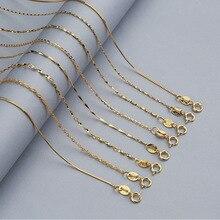 Martick 925 пробы серебро водная волна цепь для Женская обувь, Размер 40 см/45 см 0,7/0,8 мм цепи Цепочки и ожерелья золото/розовое золото Цвет GSC2