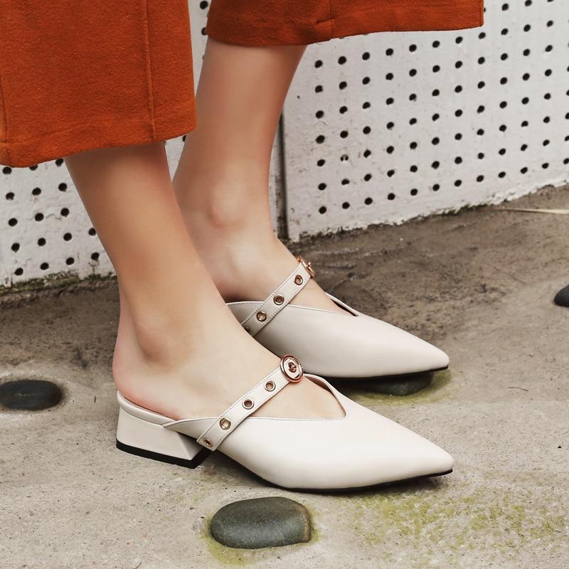 ФОТО Women's Genuine Leather Pointed Toe Metal Buckle Slip-on Sandalias Brand Designer Slingback Summer Flats Sandals Shoes for Women