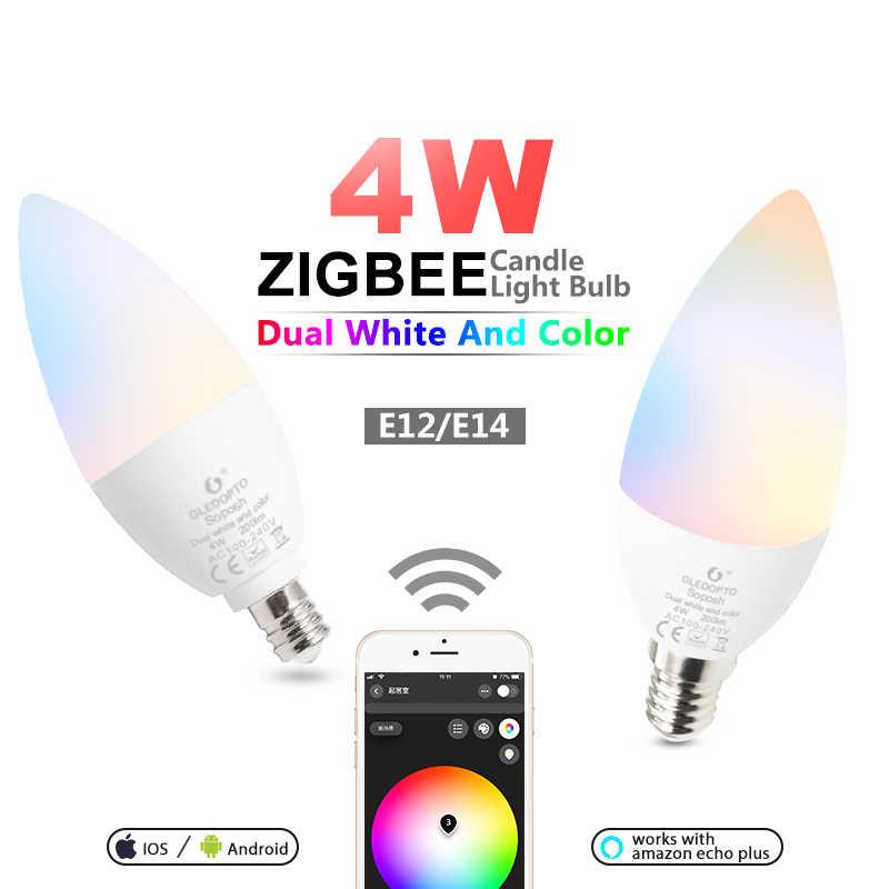 ZIGBEE ZLL À Luz de Velas Lâmpada LED E14 E12 4 W RGBCCT Smart APP Link Control AC 110 V 220 V 230 V CONDUZIU a Lâmpada de Trabalho com a Amazônia Plus Eco