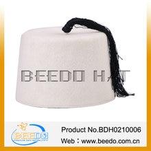 White color 100% wool felt fez cap with tassel