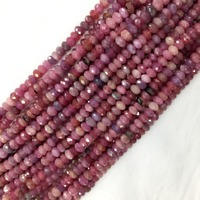 Natural Genuine Purple Red Tanzania Ruby Hand Cut Loose Faceted Rondelle Beads 15 05880