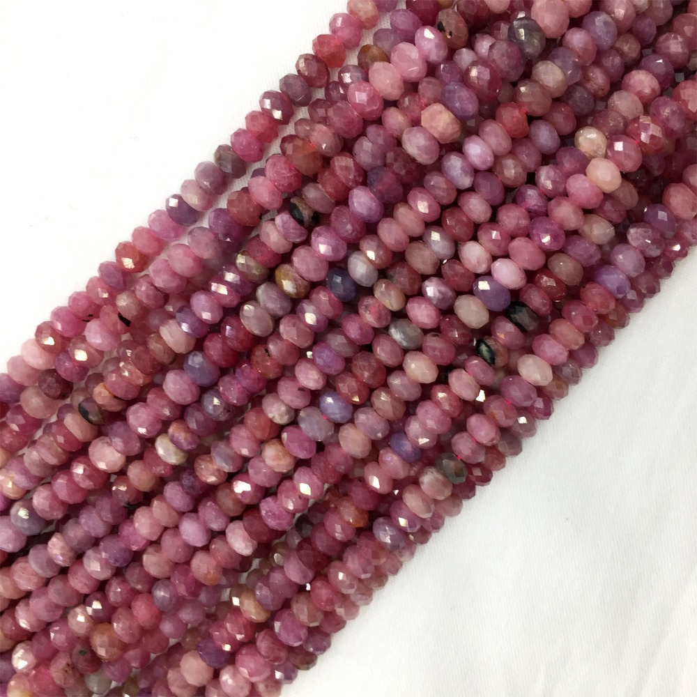 Jewelry & Accessories Natural Genuine Purple Red Tanzania Ruby Hand Cut Loose Faceted Rondelle Beads 15 05880 To Make One Feel At Ease And Energetic