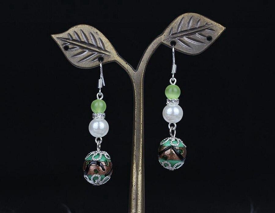 4c092795c522 Perlas de plata de la vendimia OPAL cristal Cuentas Pendientes de gota  encanto largo cuelga el pendiente para la mujer Regalos de la joyería de la  manera ...