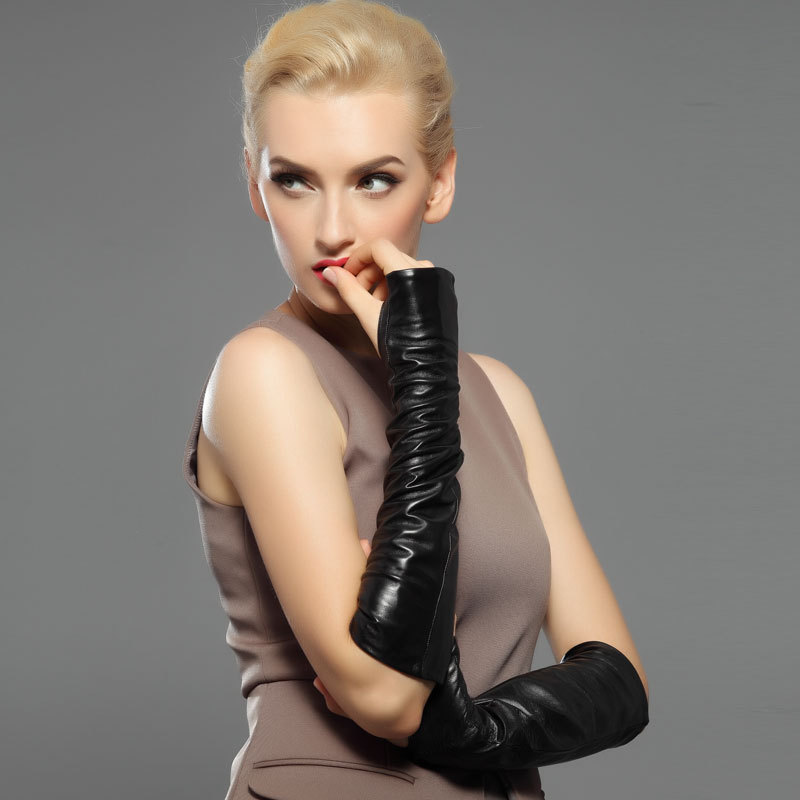 Nouvelle mode femmes noir en peau de mouton mitaines gants dames Long en cuir véritable chaud gants d'hiver livraison gratuite