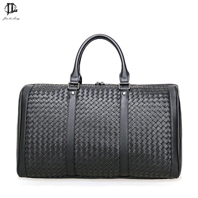 Brand Prius Genuine Leather Travel bag Men Duffel Bag Luggage Travel weave  Bag Large Men Leather f28c048930a4c