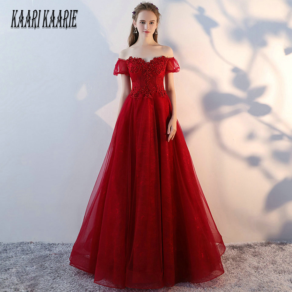 Formal Red   Evening     Dresses   Long 2019   Evening   Gowns Women Sweetheart Tulle Appliques Beading Pearls Lace Up Sexy Party   Dress   Prom