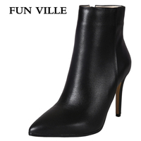 FUN VILLE 2017 New Autumn Winter Women Ankle Boots Genuine Leather High Quality Solid Pointed Toe