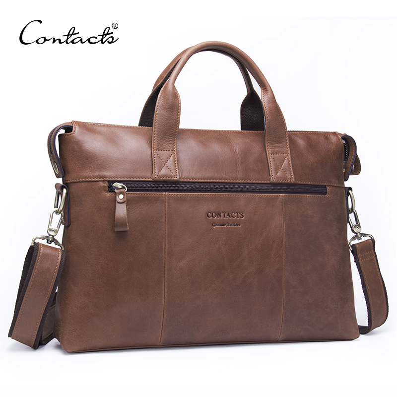 CONTACTS Business Men Briefcase Genuine Leather Shoulder Bag For Man 13.3 Inch Business Laptop Bag With Flap Pocket Travel BagsCONTACTS Business Men Briefcase Genuine Leather Shoulder Bag For Man 13.3 Inch Business Laptop Bag With Flap Pocket Travel Bags