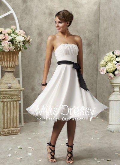 d872218b55a4 Glamorous A-Line/Princess Strapless Knee-Length Chiffon Charmeuse  Bridesmaid Dress with Ruffle Sash