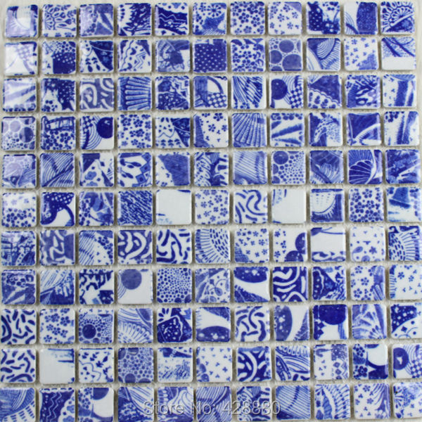 Porcelain Mosaic Tile Kitchen Backsplash Blue White Shower Ceramic Tiles Wall Stickers Ad