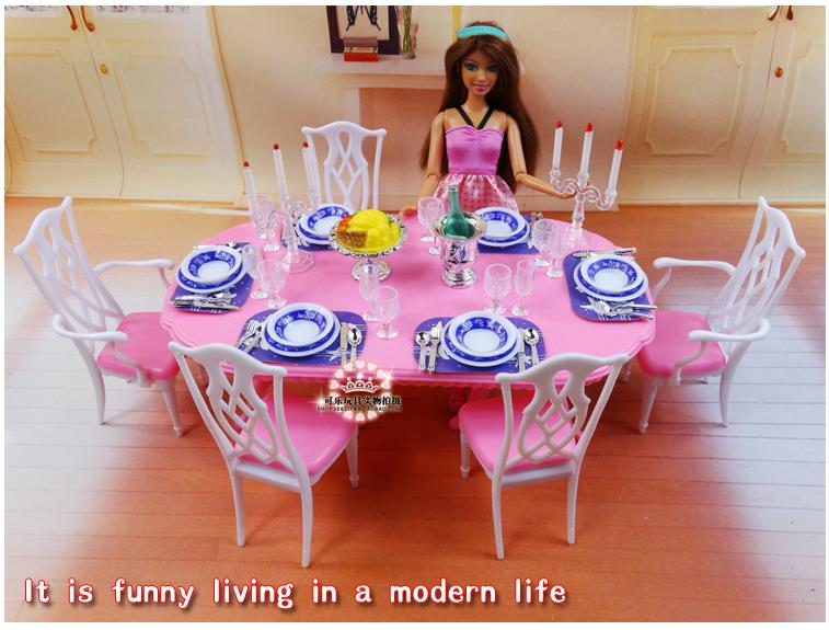 For Barbie Kelly Ken Doll Blue U0026 White Dining Table Set / Dollhouse Dining  Room Furniture Saucer Chair Accessories Girls Gift In Dolls Accessories  From Toys ...