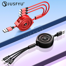Adjustable 3in1 Charge Micro USB Type C Cable For iPhone Xs Portable 2.4A Fast Charging Cord Huawei P30 Pro Lite