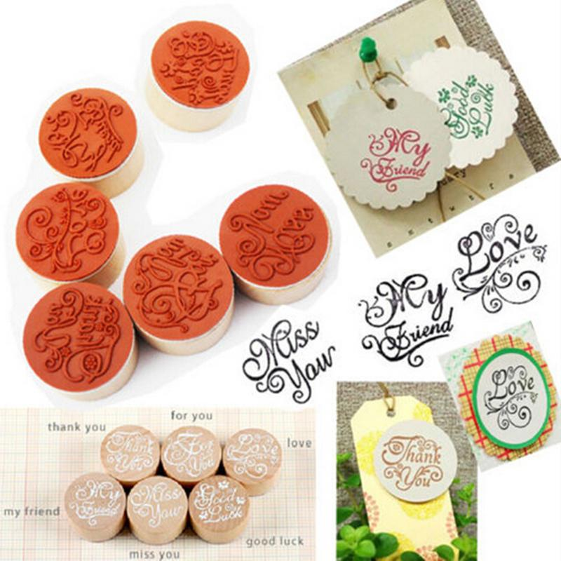 Office & School Supplies Peerless 6pcs/set Wooden Love You Thank You Letter Stamp Floral Flower Stamps Vintage Round Rubber Scrapbook Crafts Stamp