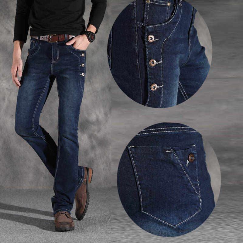 Mens Vintage Designer Flare Jeans Mannen Toevallige Boot Cut Denim Jeans voor Mannen Stretch Slim Flared Jeans Blauw Bootcut broek