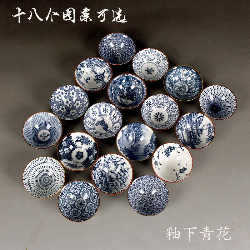 1PCS Chinese Ceramic Kung Fu Blue and White Porcelain Tea Cup Kitchenware