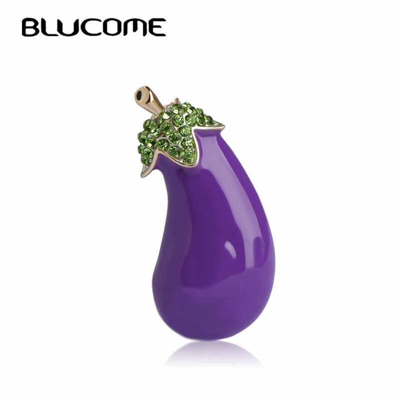 Blucome Lila Pflanze Gemüse Aubergine Brosche Gold-farbe Legierung Emaille Broschen Für Anzug Schal Kragen Zubehör Clips Schmuck