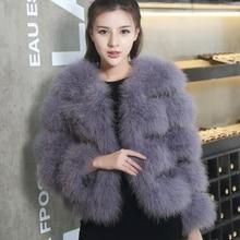 Горячая Распродажа модное сексуальное женское пальто из шерсти страуса размера плюс женские зимние куртки и пальто