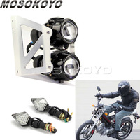 Motocicleta dupla esporte farol personalizado twin 2x h3 projetor cabeça lâmpada transformar a luz do sinal com suporte de montagem universal
