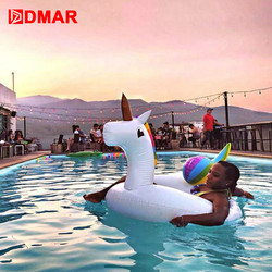 DMAR 75/90/110/200cm Inflatable Unicorn Giant Pool Float Toy Swimming Ring Mattress Adult Kids Beach Water Family Party flamingo