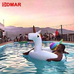 DMAR 75/90/110/200cm colchón inflable unicornio gigante flotador de la piscina juguete de natación para adultos niños playa familia fiesta flamencos