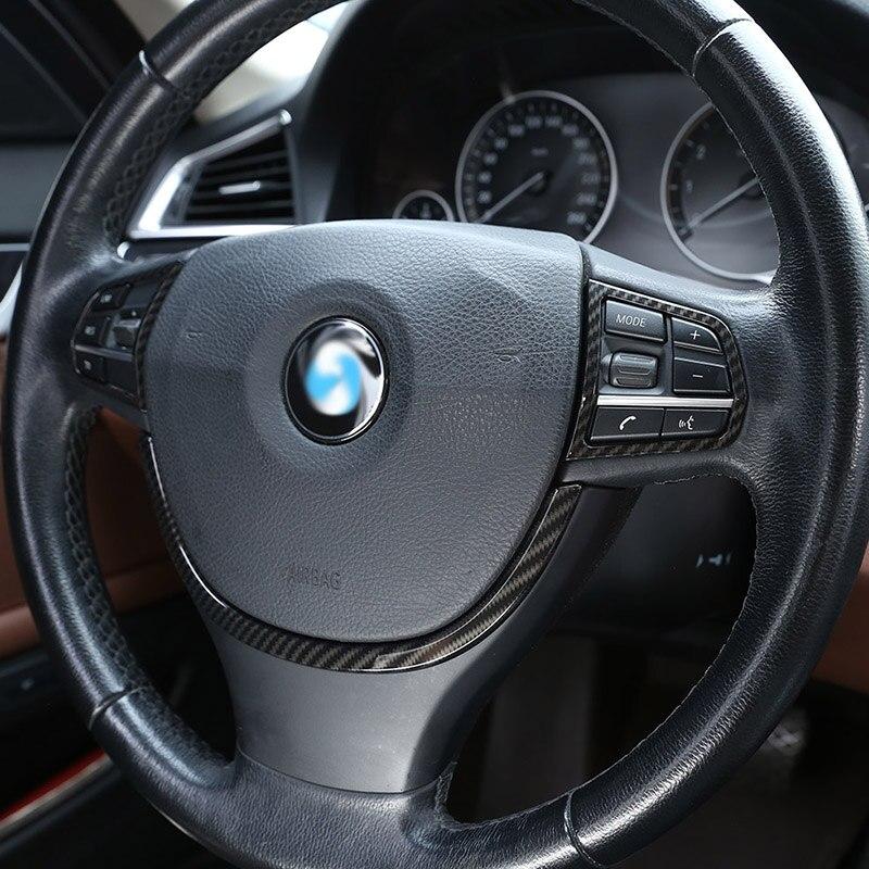 Carbon Fiber Steering Wheel Decoration Sequin Trim 1pc For BMW 5 Series F10 520 525 2011-2017
