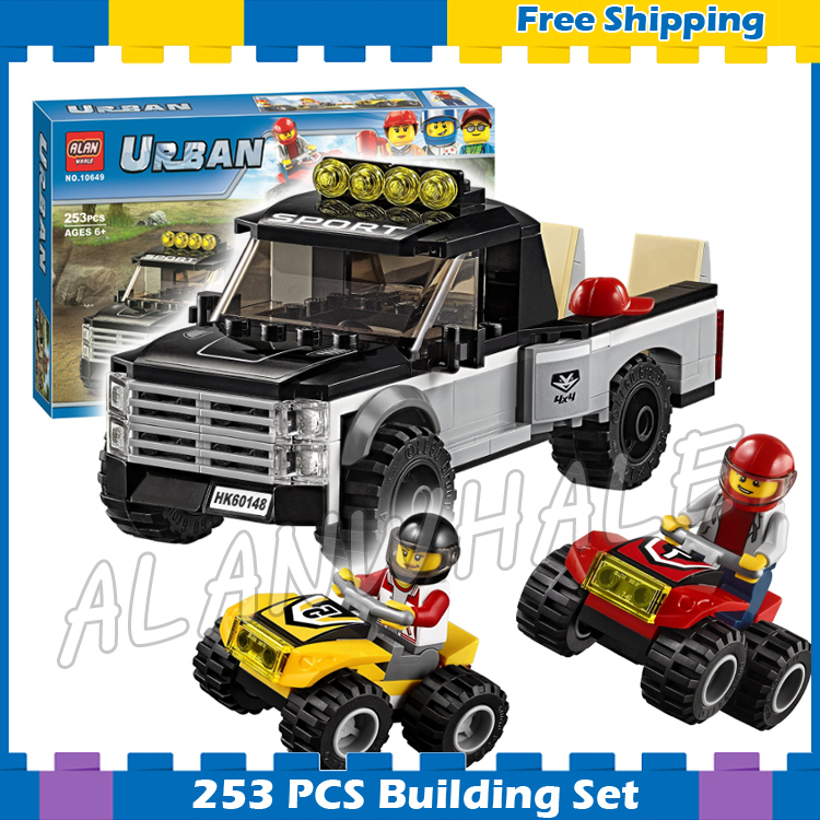 253pcs City Great Vehicles ATV Race Team Model Building Blocks 10649 Assemble Karting Children Gifts sets Compatible With Lego