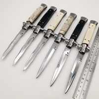 "Italian 11"" Mafia Tactical Folding knife 440C Blade Acrylic Handle Godfather Pocket Knives Survival Quickly Open Knife EDC Tools"