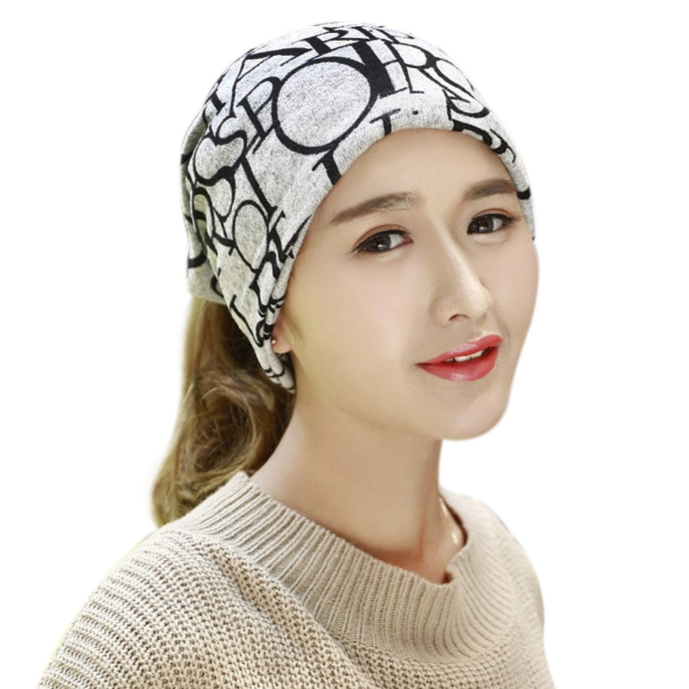 Fashion Winter Fall Women's Hat Letter Prints 2 Use Cap Knitted Wool Scarf Beanies Women Hip-Hop Skullies Warm Girls Gorros Y1 2017 letter 2018 beauty hat for women knitted cap autumn winter warm skullies beanies empty hat scarf two use 3 colors 8404