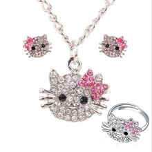 3 pc jewelry set necklace earrings ring cute hello kitty cat set for girl rhinestone crystal - Hello Kitty Wedding Ring