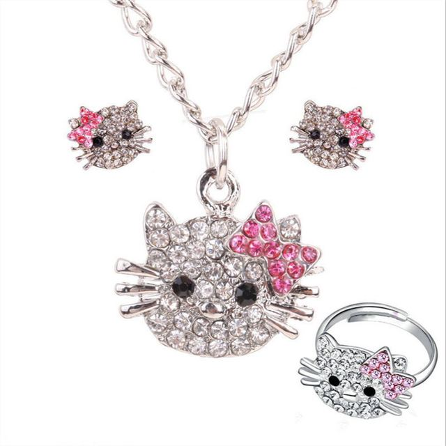 3 pc jewelry set necklace earrings ring cute hello kitty cat set for girl rhinestone crystal