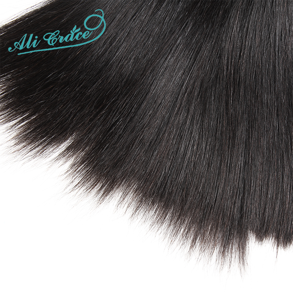 Ali Grace Straight Hair Bundles With Frontal 13*4 Medium Brown Lace Color Remy Brazilian Human Hair Bundles With Frontal