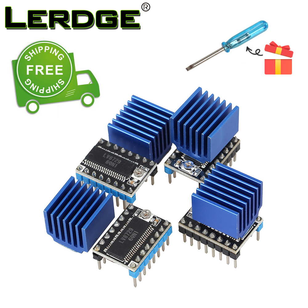 LERDGE 3D Printer Parts LV8729 Stepper Motor Driver module 128 Subdivisions with 4PCS or 5PCS Free Shipping 5pcs a4988 stepper motor driver module with heatsink free shipping