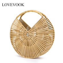 Lovevook bamboo bag women handbag for travel wooden Beach ba