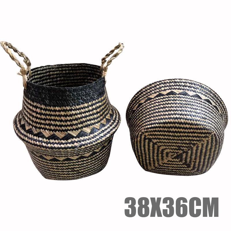 Foldable Seagrass Woven Storage Baskets Wicker Rattan Basket Home Decoration Garden Flower Vase Hanging Baskets(China)