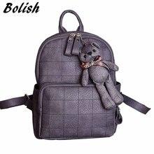 Bolish моды Малый медведь кулон для девочек школьный нубук женские рюкзак двойной молнии женская сумка старинные рюкзак